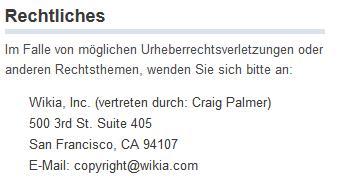 Wikia Urheberrecht Verletzung